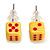 Tiny Yellow Plastic Dice Stud Earrings (Silver Tone) -5mm Diameter - view 2