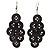 Black Plastic Button Drop Earrings (Silver Tone) - 8cm Drop