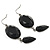 Black Tone Acrylic Drop Earrings - 7cm Drop - view 3