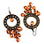 Bronze Filigree Citrine Bead Chandelier Hoop Earrings - 7.5cm Drop - view 2