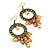 Bronze Filigree Citrine Bead Chandelier Hoop Earrings - 7.5cm Drop - view 7