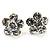 Small Clear Diamante Flower Stud Earrigns (Silver Tone) -2cm Diameter