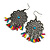 Floral Filigree Beaded Drop Earrings (Antique Silver) - 6cm Drop - view 1