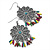 Floral Filigree Beaded Drop Earrings (Antique Silver) - 6cm Drop - view 5