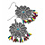 Floral Filigree Beaded Drop Earrings (Antique Silver) - 6cm Drop - view 6
