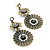 Bronze Tone Filigree Floral Jewelled Drop Earrings - 7cm Drop