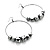 Gun Metal Square Bead Hoop Drop Earrings - 6cm Diameter