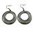 Gun Metal Diamante Hoop Drop Earrings - 4cm Diameter - view 3