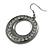 Gun Metal Diamante Hoop Drop Earrings - 4cm Diameter - view 2