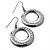 Gun Metal Diamante Hoop Drop Earrings - 4cm Diameter - view 4