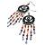 Multicoloured Bead Chandelier Earrings (Burn Silver Tone) - 9.5cm Drop