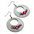 Burn Silver Textured Diamante Hoop Earrings - 4.5cm Diameter