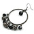Gun Metal Bead Hoop Earrings (Black) - 4.5cm Diameter - view 2
