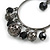 Gun Metal Bead Hoop Earrings (Black) - 4.5cm Diameter - view 3
