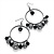 Gun Metal Bead Hoop Earrings (Black) - 4.5cm Diameter - view 4