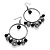 Gun Metal Bead Hoop Earrings (Black) - 4.5cm Diameter - view 5