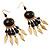 Dark Brown Wood Feather Dangle Earrings (Gold Metal) - view 2