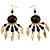 Dark Brown Wood Feather Dangle Earrings (Gold Metal) - view 3