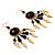 Dark Brown Wood Feather Dangle Earrings (Gold Metal) - view 4