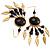 Dark Brown Wood Feather Dangle Earrings (Gold Metal) - view 5