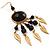 Dark Brown Wood Feather Dangle Earrings (Gold Metal) - view 6