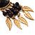 Dark Brown Wood Feather Dangle Earrings (Gold Metal) - view 7