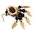 Dark Brown Wood Feather Dangle Earrings (Gold Metal) - view 8
