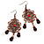 Bronze Filigree Bead Drop Earrings - 7.5cm Length