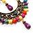 Multicoloured Acrylic Bead Hoop Earrings (Gold Tone) - 9cm Drop - view 2