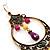 Multicoloured Acrylic Bead Hoop Earrings (Gold Tone) - 9cm Drop - view 3