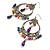 Multicoloured Acrylic Bead Hoop Earrings (Gold Tone) - 9cm Drop - view 7