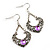 Burn Silver Filigree Diamante Drop Earrings - 5.5cm Length