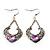 Burn Silver Filigree Diamante Drop Earrings - 5.5cm Length - view 4