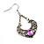 Burn Silver Filigree Diamante Drop Earrings - 5.5cm Length - view 5
