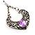 Burn Silver Filigree Diamante Drop Earrings - 5.5cm Length - view 3