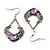 Burn Silver Filigree Diamante Drop Earrings - 5.5cm Length - view 7