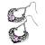 Burn Silver Filigree Diamante Drop Earrings - 5.5cm Length - view 2