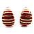 Small C-Shape Stripy Red Enamel Clip On Earrings (Gold Tone)