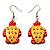 Funky Wooden Turtle Drop Earrings (Orange & Yellow ) - 4.5cm Length