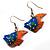 Funky Multicoloured Wood Fish Drop Earrings (Blue & Orange) - 3.5cm Length - view 2