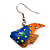 Funky Multicoloured Wood Fish Drop Earrings (Blue & Orange) - 3.5cm Length - view 3