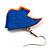 Funky Multicoloured Wood Fish Drop Earrings (Blue & Orange) - 3.5cm Length - view 4