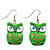Green Wood Owl Drop Earrings - 4.5cm Length