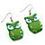 Green Wood Owl Drop Earrings - 4.5cm Length - view 2