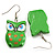 Green Wood Owl Drop Earrings - 4.5cm Length - view 3