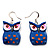 Dark Blue Wood Owl Drop Earrings - 4.5cm Length