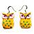 Bright Yellow Wood Owl Drop Earrings - 4.5cm Length