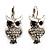 Silver Tone Crystal Owl Drop Earrings