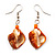 Orange Shell Bead Drop Earrings (Silver Tone)