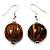 Light Brown & Black Animal Print Wood Drop Earrings (Silver Tone)